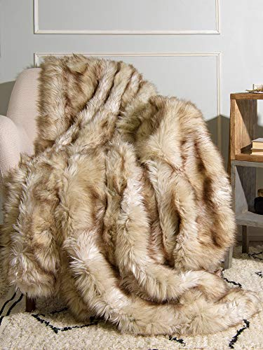 Best Home Fashion Faux Fur Throw - Full Blanket - Champagne Fox - 58'W x 84'L - (1 Throw)