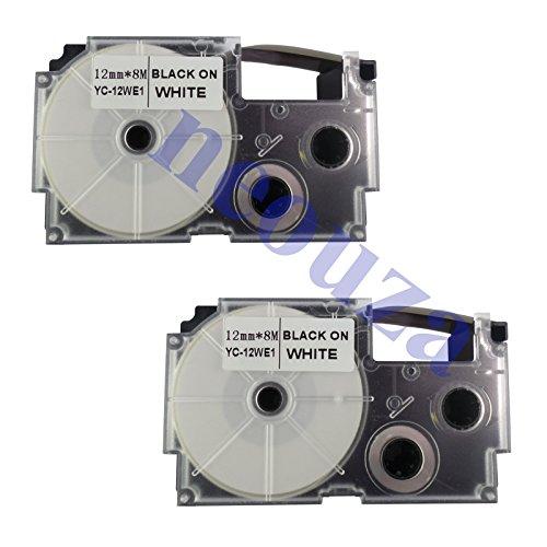 "NEOUZA 2PK Compatible for Casio EZ-Label Tape 12mm x 8m 1/2"" x 26' LABEL IT! (XR-12WE2S Black on White)"