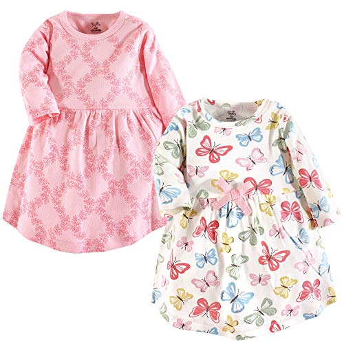 Touched by Nature Baby Girls' Organic Cotton Dress, Butterflies Long Sleeve 2-Pack, 0-3 Months (3M)