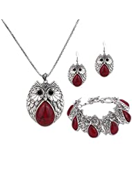 YAZILIND Silver Plated Red Turquoise Pendant Necklace Owl Drop Earrings Charm Bracelet for Women Jewelry Sets