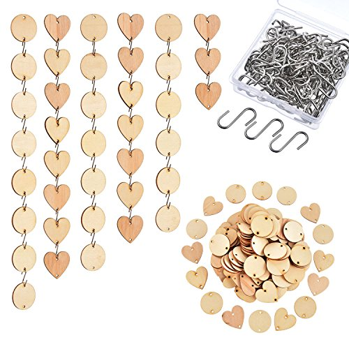 Hicarer 240 Pieces in Total, Christmas Wooden Ornaments Heart Tags with Holes and S Hook Connectors for Birthday Boards, Valentine, Chore Boards and Crafts (Style 1)]()