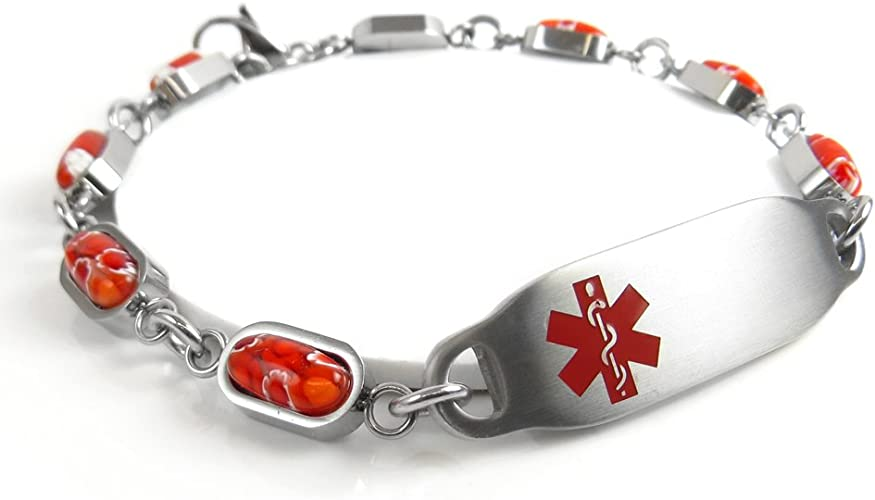 Pre-Engraved /& Customized No Nsaids ID Bracelet My Identity Doctor Customized Red Millefiori Glass Red
