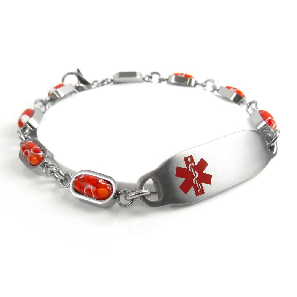 Red Millefiori Glass Customized My Identity Doctor Red Pre-Engraved /& Customized Bee Sting Allergy Bracelet