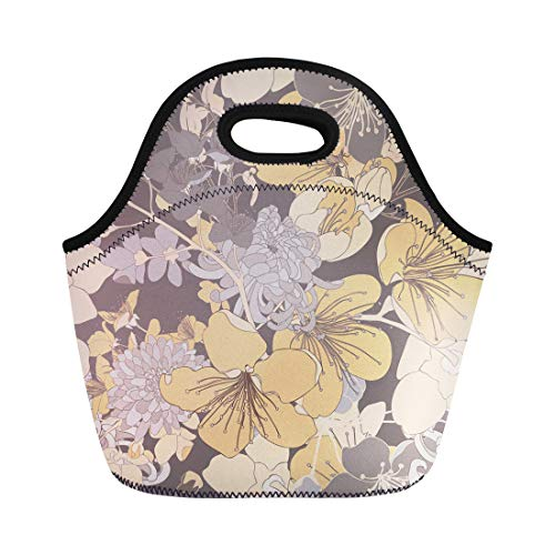 Semtomn Neoprene Lunch Tote Bag Abstract Vintage Cherry Blossom Pattern Flower Asian Chrysanthemums Floral Reusable Cooler Bags Insulated Thermal Picnic Handbag for ()