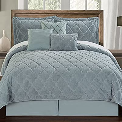 Serenta Faux Fur Ogee Embroidery 7 Piece Bedspread Quilts Set