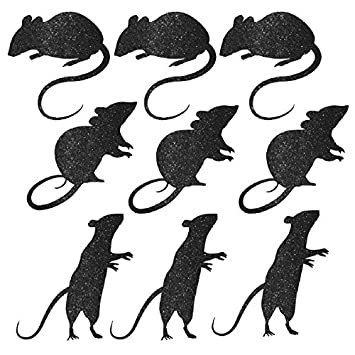 blood manor glitter mice assorted silhouette cutouts halloween trick or treat party haunted house decoration