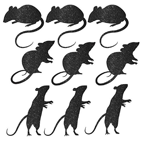 Blood Manor Glitter Mice Assorted Silhouette Cutouts Halloween Trick or Treat Party Haunted House Decoration, Cardboard, 8