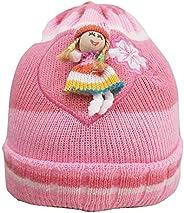 Touca Gorro Infantil Bebê De Menina Lã rosa desenho boneca ou ursinho compre 1 leve 2