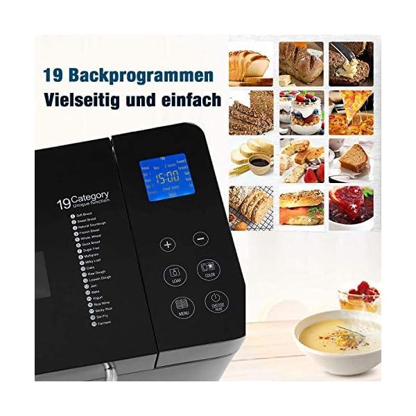 Macchina per il pane programmabile, 19 programmi da 710 W, con display retroilluminato blu e timer programmabile 15 ore… 2