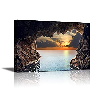 Canvas Wall Art - Beautiful Landscape Inside View of Grotto in Coast | Modern Home Art Canvas Prints Giclee Printing Wrapped & Ready to Hang - 16