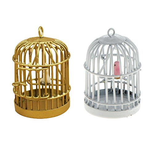 [해외]MonkeyJack 1:12 규모 금속 조류 케이지 인형의 집 장식 2 개를 위한 새 새 장 / MonkeyJack 1:12 Scale Metal Bird Cage with Bird Birdcage for Dollhouse Decoration 2 Pcs