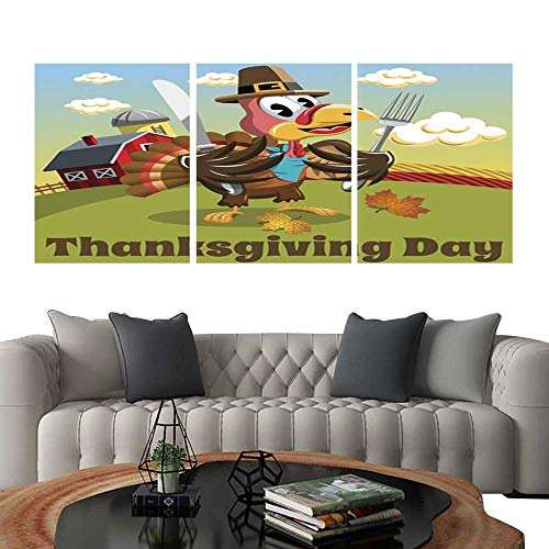 (UHOO Prints Wall Art PaintingsThanksgiving Day Background Square Pilgrim Turkey eat Fork and Knife. Customizable Wall Stickers 20