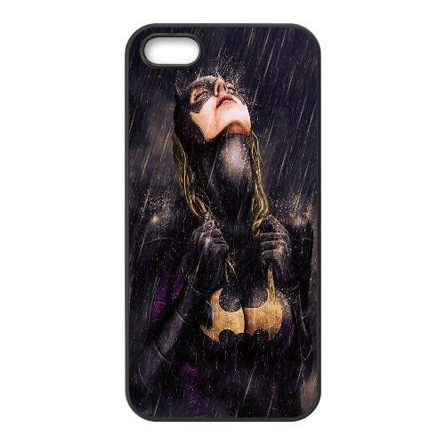 I1D72 Batgirl X5N6PJ coque iPhone 5 5s cellulaire cas de téléphone coque couverture AS0BLD6PR noir