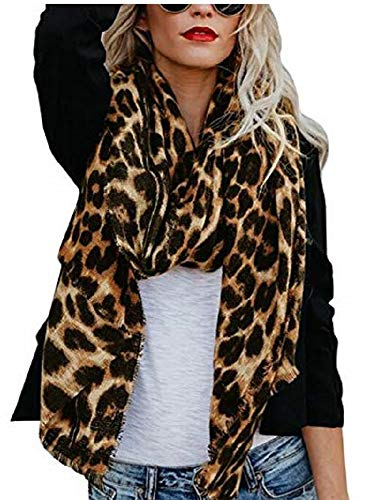 Huiyuzhi Womens Casual Warm Color Block Plaid Blanket Scarf Gorgeous Wrap Shawl (One Size, A-Leopard-black)