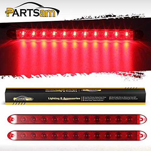 Partsam 2Pcs 16' Red Trailer Tail Light Bar 11 LED w Reflex Lens Waterproof Sealed Thinline Stop/Turn/Tail ID Marker Brake Tail Light Bar for Trucks Trailers RV Surface Mount