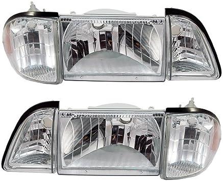 Front Side Marker Light Assemblies Clear Pair 1987-1993 Mustang