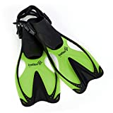 Ivation Kids Swim Fins - Diving Fins - Adjustable Speed Fins, Super-soft, for Diving,Snorkeling, Swimming & Watersports,Fun Green,Small/Medium 9-13