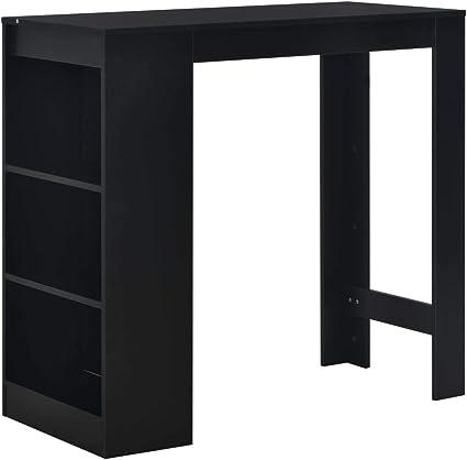 vidaXL Mesa alta de cocina con estantería negra 110x50x103 cm