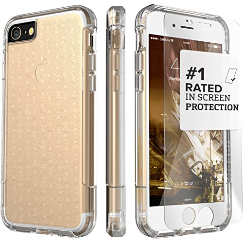 iPhone 7 Case, (Crystal Clear) Dual-Layer Inspire SaharaCase Protective Kit Bundle with [ZeroDamage Tempered Glass Screen Protector] Slim Fit [ Shockproof Bumper] Rugged Protection