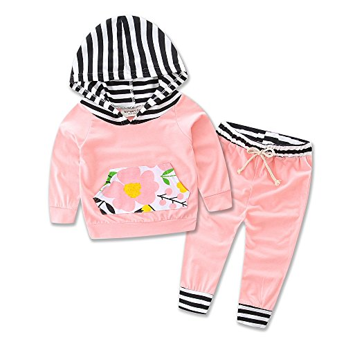 Toddler Infant Baby girls Deer Long Sleeve stripe Hoodie Tops Sweatsuit Pants Outfit S (70 S Outfit)