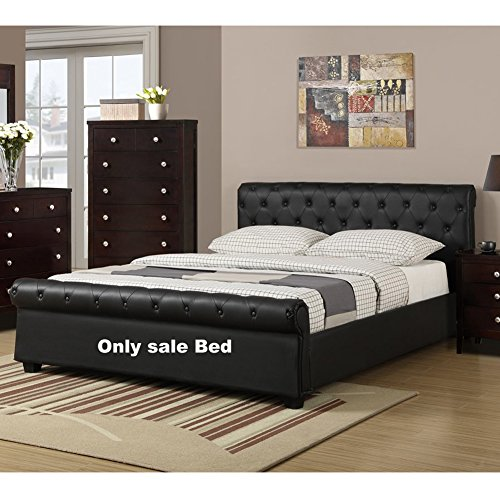 Poundex F9246F Upholstered Full Size Bed with Button Tufting, Black