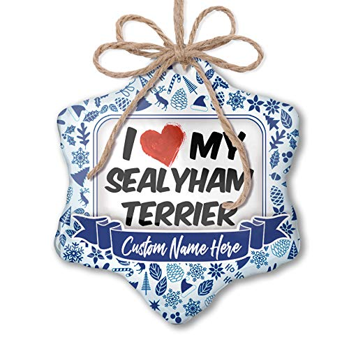 (NEONBLOND Custom Tree Ornament I Love My Sealyham Terrier Dog from Wales with Your Name)