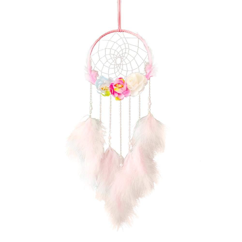 Rose Blanc avec des lumi/ères Luminu Handmade Attrape-r/êves Dream Catcher Home Decor D/écoration Ornement Suspendu