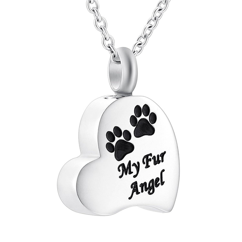 """My Angel"" Memorial Jewelry Cremation Urn Keepsake Necklace Cute Paw Heart Shape Stainless Steel Pendants"