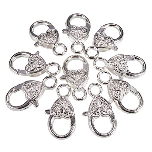 PandaHall Elite 10 Pcs Brass Heart Rhinestone Lobster Claw Clasps Chain Connector 25x13mm for Jewelry Craft Making Silver