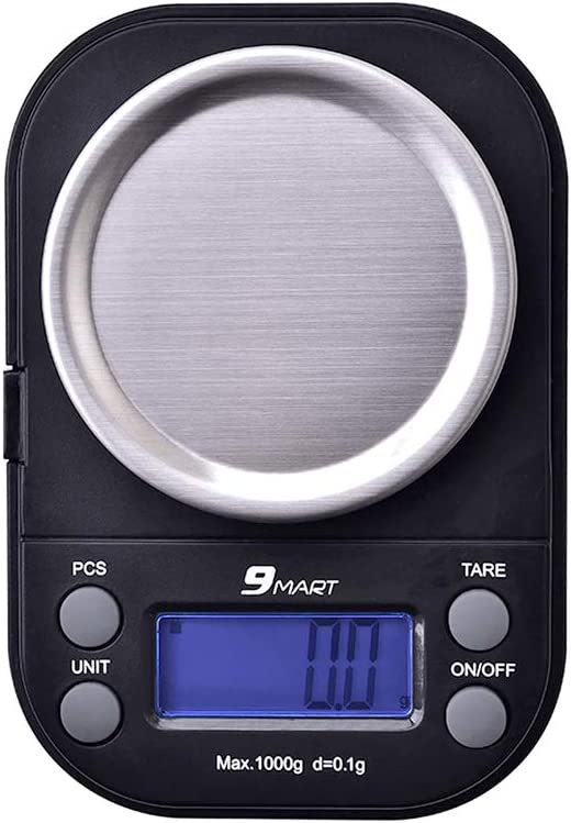 9Mart Mini Pocket Gram Scale for Jewelry Digital Food Kitchen Scale 1000 by 0.1g with Tare and Calibration Weight Scale