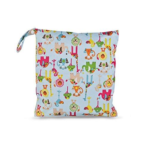 Justmysport Baby Windel Taschen Windelsäckchen Wickeltaschen Nasstaschen für Wickelutensilien Stoffwindeln von Nass- und Trockentuch (Blau Tier)