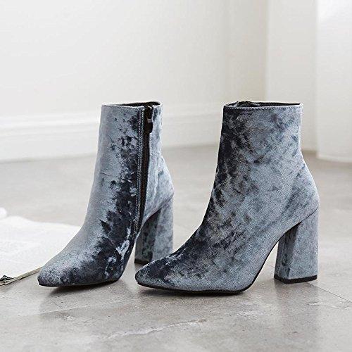 talons à Casual Carrière pointe LvYuan et Talon pointu BLUE courtes mxx Robe Chunky Femmes 40 velours chaussures hauts Bureau bottes Gold Pw7Pqa