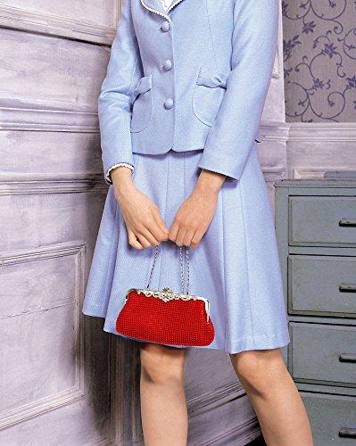 ANNA GRACE - Cartera de mano de Con Cuentas para mujer Design 1 - Red