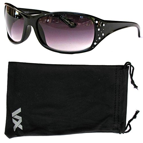 Vox Women's Sunglasses Designer Sport Fashion Rhinestones Eyewear Free Microfiber Pouch – Black Frame – Smoke Lens Microfiber Rhinestone