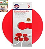 Silicone Designs Suction Lids, Set of 5, Red Cooking Food...