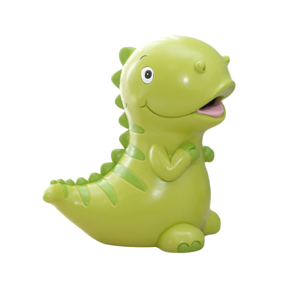 WAIT FLY 7.5 x 7.5 Inches Lovely Green Dinosaur Shaped Large Size Resin Piggy Bank Coin Bank Money Bank Best Christmas Birthday Gifts for Kids Boys Girls Home Decoration