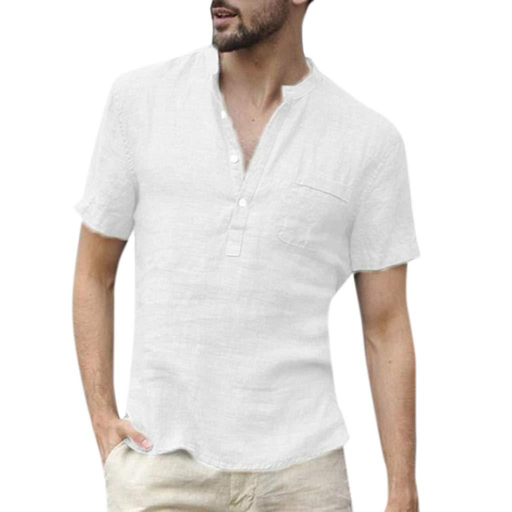 MALLOOM Men's Casual Baggy Cotton Linen SOID Color Short Sleeve Button T Shirts Tops Blouse White
