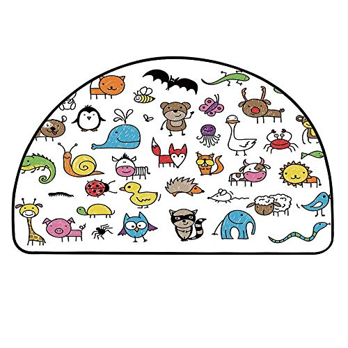 YOLIYANA Doodle Half Round Door Mat,Collection of Cartoon Style Animals Drawn in Child Friendly Manner Cute Adorable Fun for Indoor Outdoor,29.5