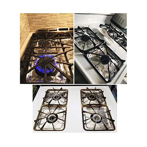 """Aluminum Foil Square Stove Burner Covers Disposable Heavy Thick Quality Bib LinersDrip Pans Gas Range TopProtectors 8.5"""" 3"""