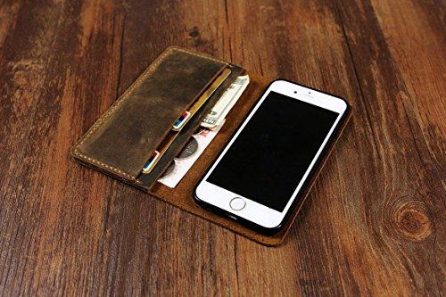 Distressed Vintage Brown Leather IPhone 6 Case wallet / iPhone 6 Plus Wallet Case / Galaxy Note 5 case wallet - Brown stitch -IP005W