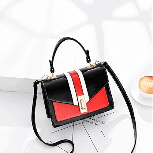 Handbag Bolso de Hombro de la Sra. Bag Messenger Bag Bolso de Color Pequeño con Contraste A+ (Color : Blanco) Black