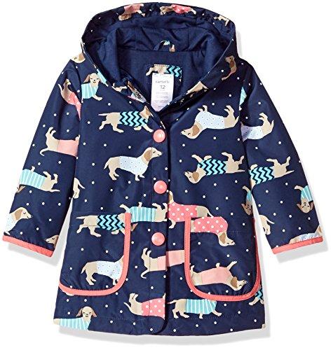 Carter's Baby Girls Her Favorite Rainslicker Rain Coat, Dogs and Dots Navy, 12M