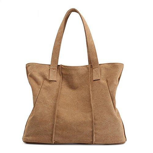 LANDONA Femmes Sac, sac fourre-tout, grand sac à main de la capacité, la version coréenne, tissu, Sac à bandoulière unique, la mode européenne et américaine. Café