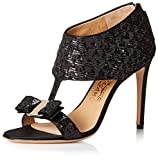 SALVATORE FERRAGAMO Women's Pellas Bow Dress Sandal, Nero, 40 M EU/10 M US