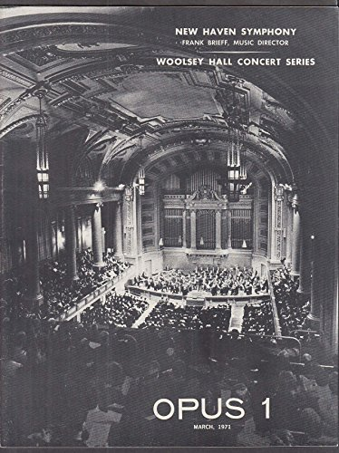 New Haven Symphony Woolsey Hall Concert Series Opus 1 program 3 1971 1 Opus Series