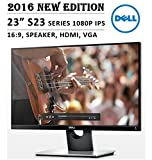 1080P Monitor - 2016 New Edition DELL S Series 23 inch FHD 1080P IPS Display Monitor, 16:9 Aspect Ratio, Stereo Speaker, HDMI, VGA, Black