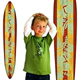 Growth Chart Art | Wooden Surfboard Growth Chart for Boys & Girls | Mahogany Teal Hibiscus