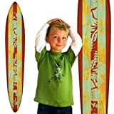 Cheap Growth Chart Art | Wooden Surfboard Growth Chart for Boys & Girls | Mahogany Teal Hibiscus