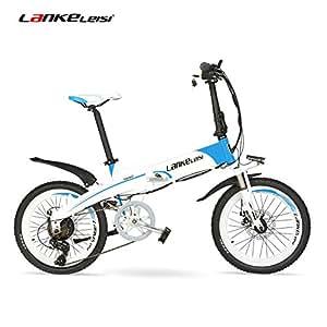 """LANKELEISI Batería Oculta de Alta Potencia G660 48V10Ah 20""""Bicicleta de montaña eléctrica Plegable, Marco de aleación de Aluminio, Horquilla de suspensión (White Blue Standard)"""