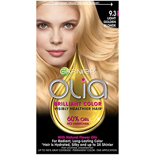 Garnier Olia Ammonia-Free Brilliant Color Oil-Rich Permanent Hair Color, 9.3 Light Golden Blonde (1 Kit) Blonde Hair Dye (Packaging May Vary)